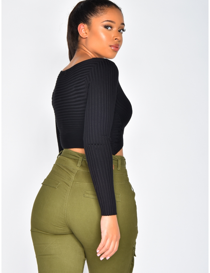 Ribbed Wrapover Jumper