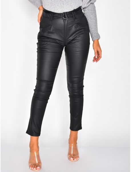 Faux Leather High Waisted Jeans with Belt