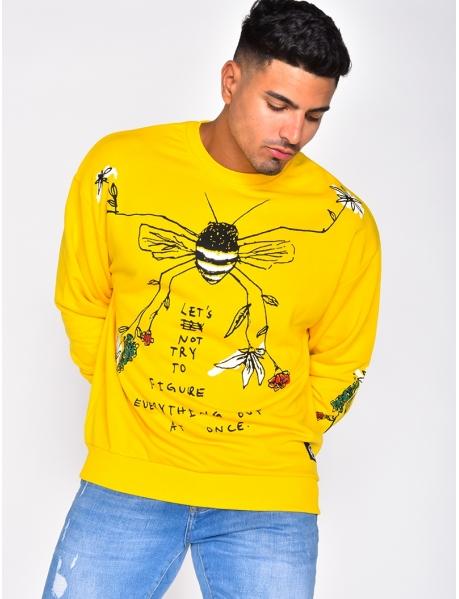 Sweat à motifs abeille