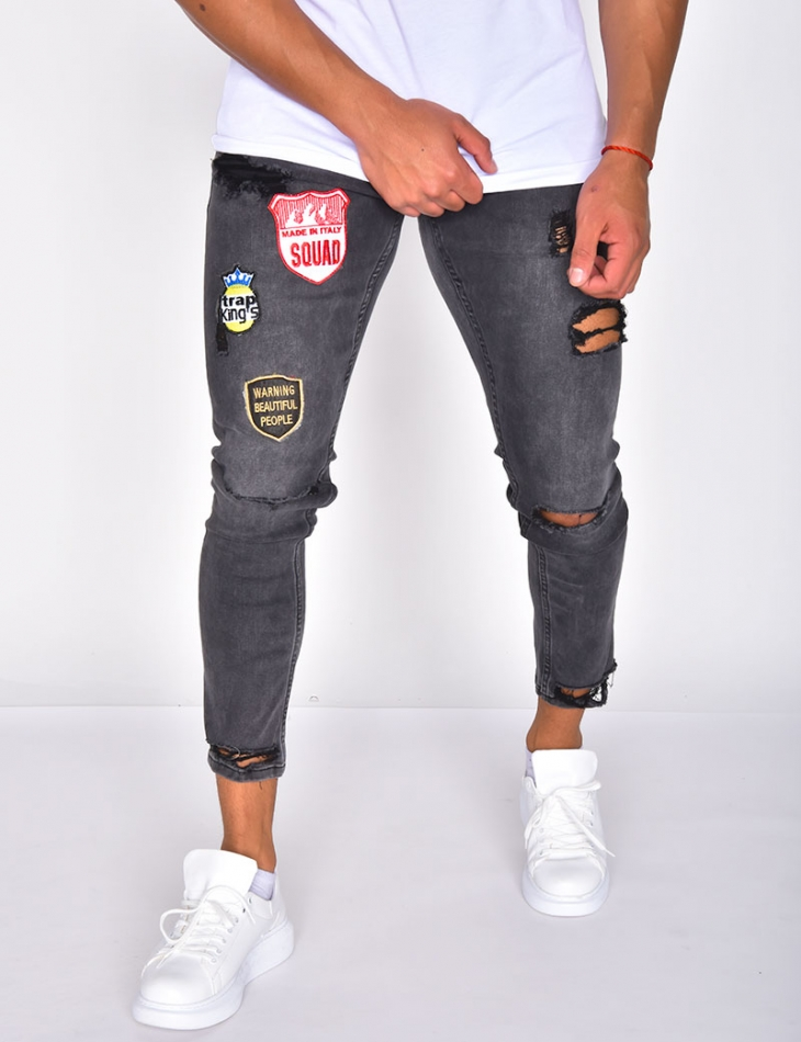 Ripped Jeans with Patches