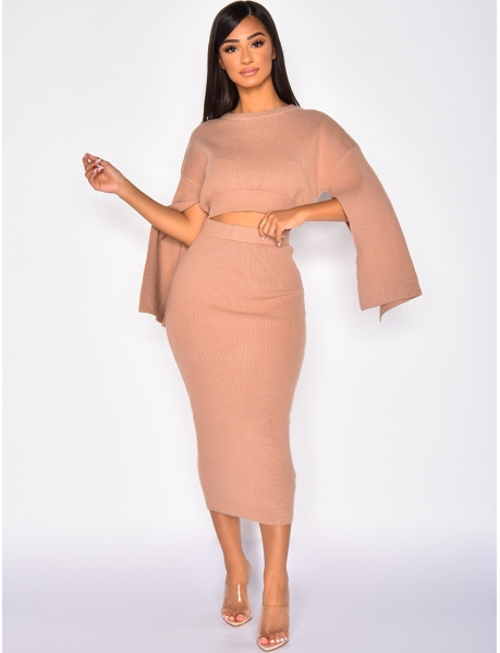 Ribbed Jumper and Skirt Co-ord
