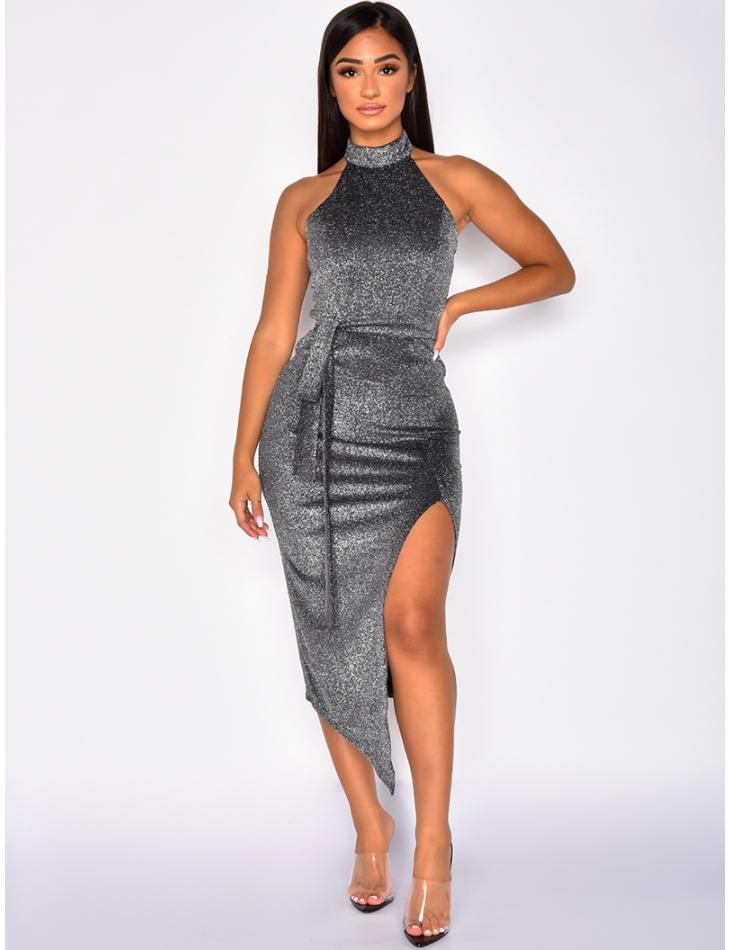 Glittery Tie Slit Dress with Open Back