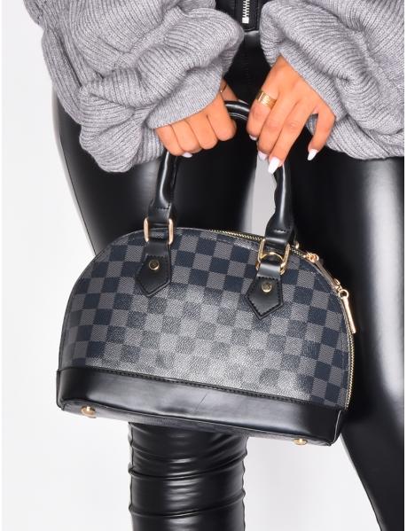 Petit sac à damier noir et gris