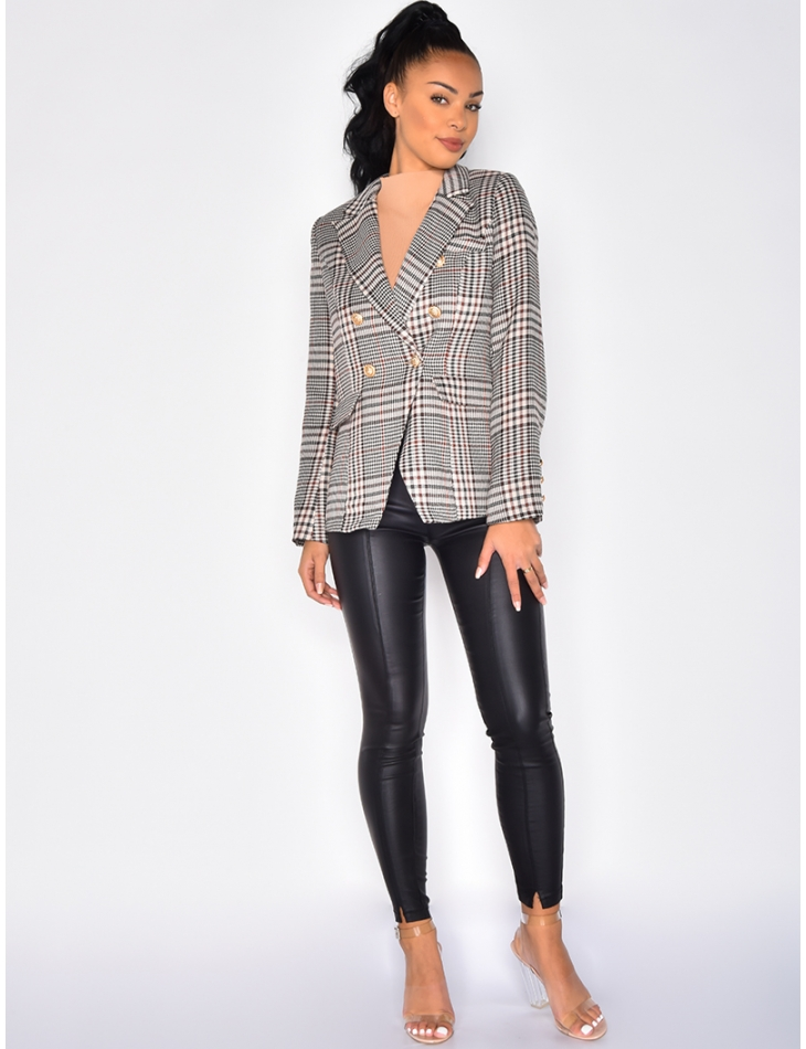 Checked Blazer with Officer Buttons