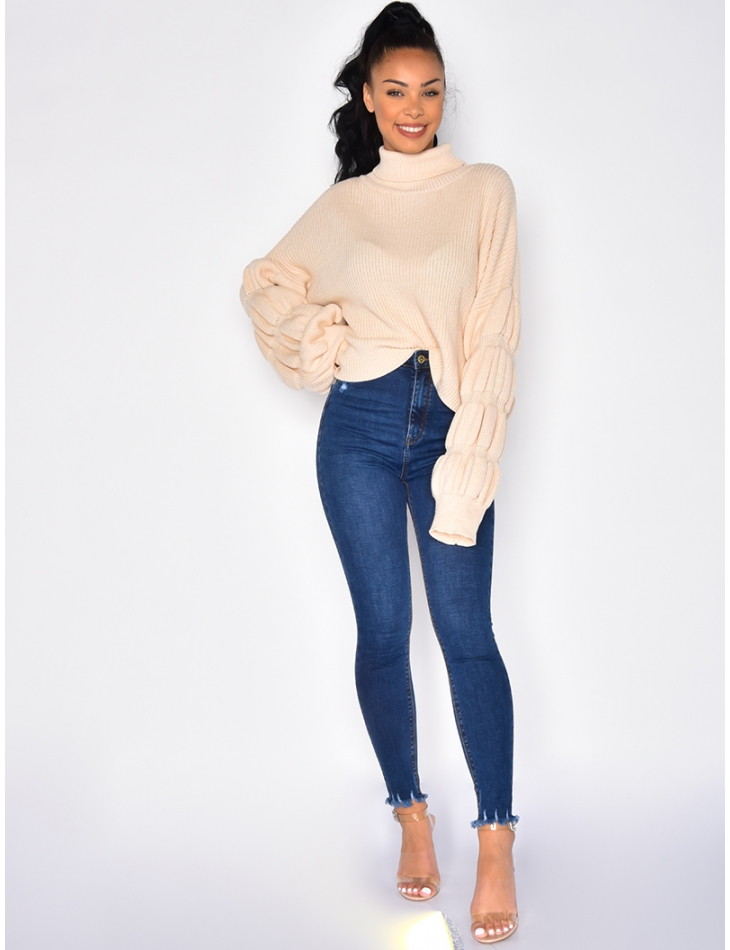 Jeans skinny cropped taille ultra haute