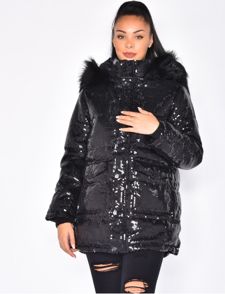 Padded Jacket with Sequins