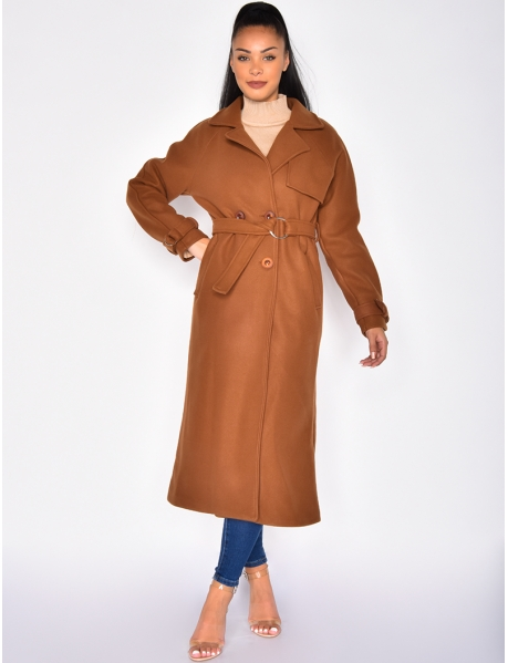 Thick Trench Style Coat with Buttons