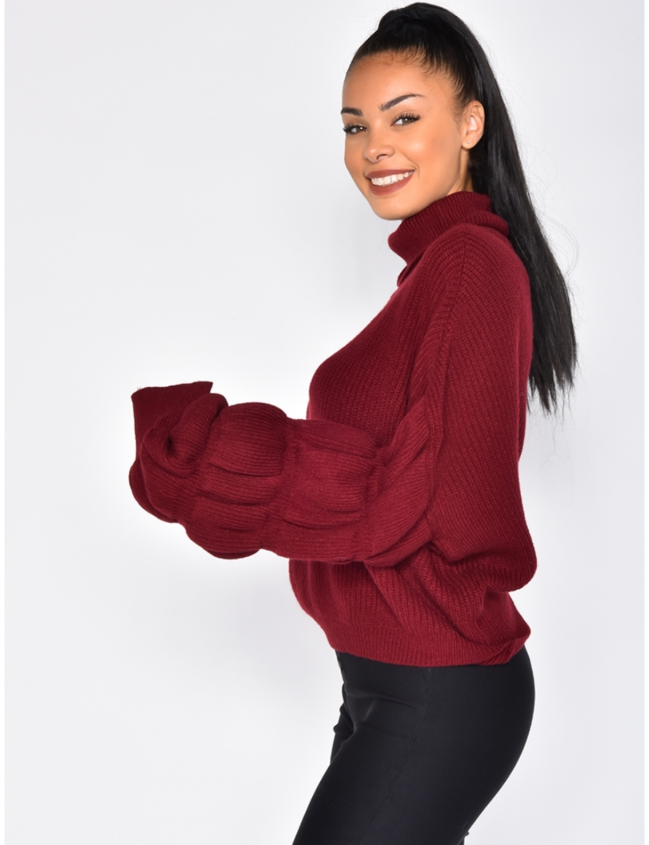 Large Short Polo Neck Jumper with Puff Sleeves