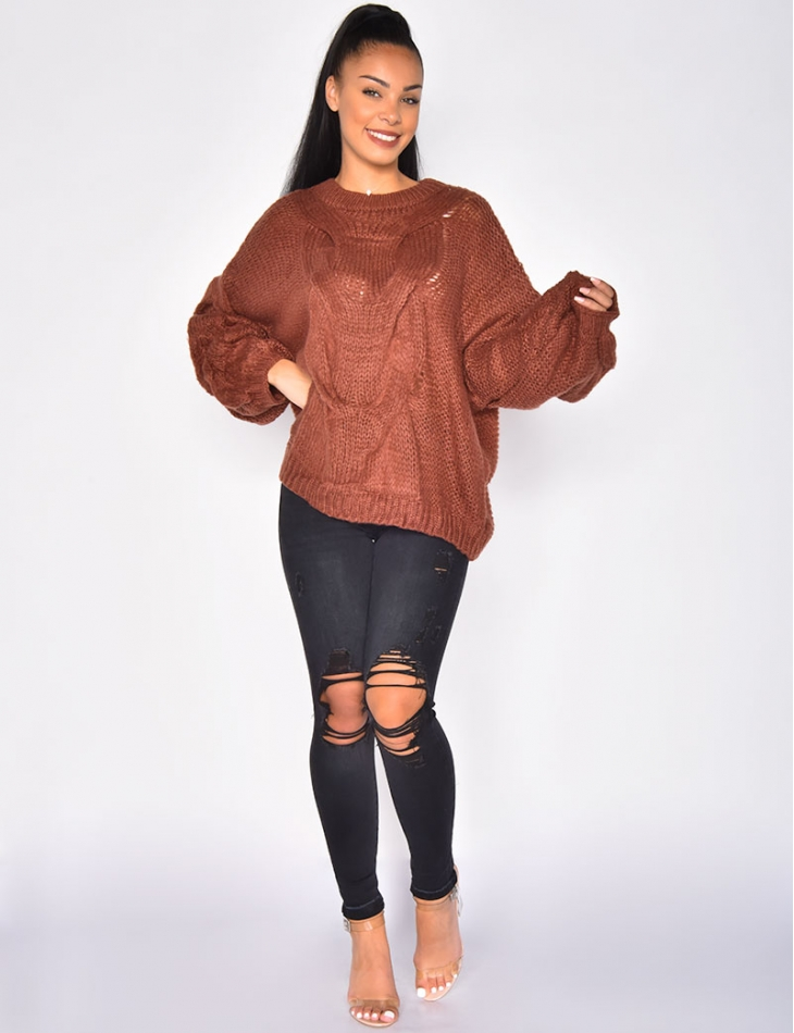 Large Knit Jumper with Puff Sleeves
