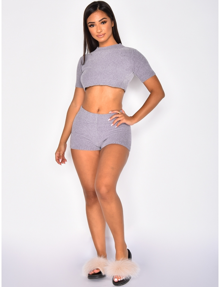 Chenille Crop Top and Shorts Co-ord