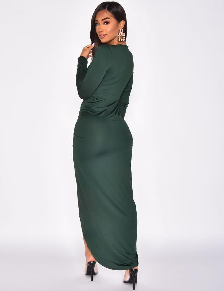 Long Low Cut Drape Dress