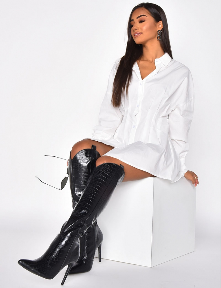Heeled Thigh High Boots with Snakeskin Effect