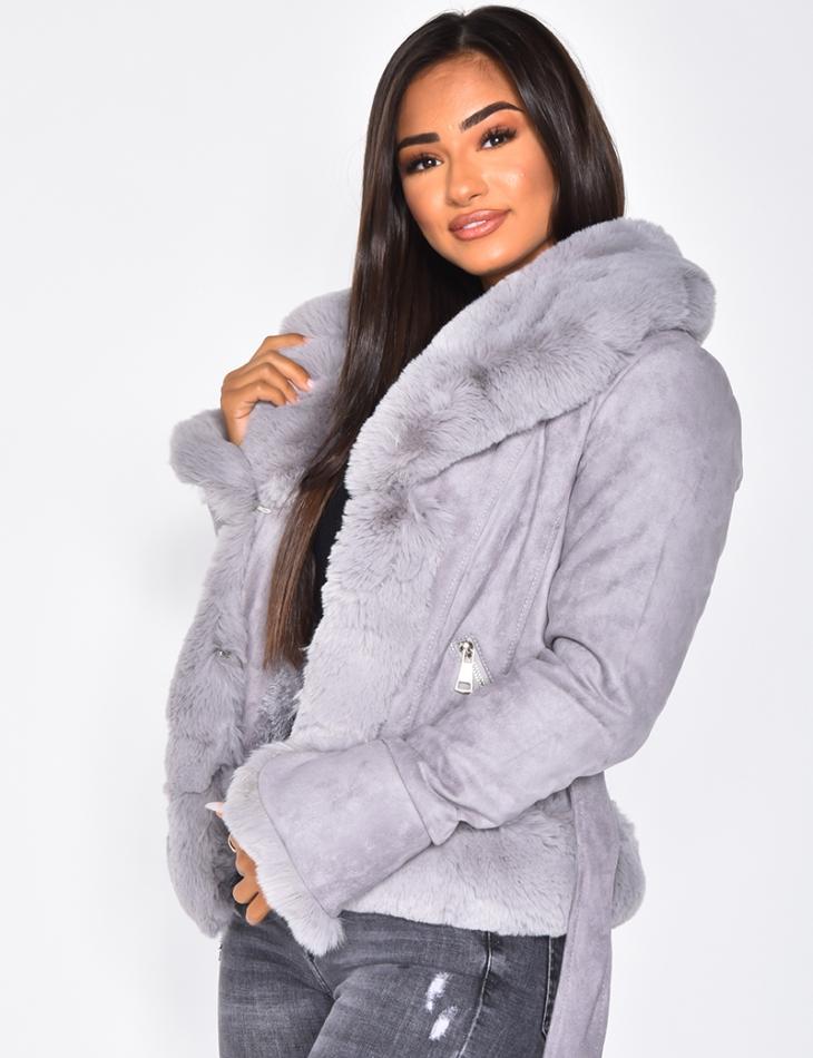 Short Suedette Coat with Fur