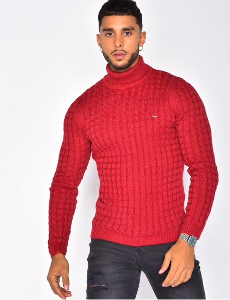 Short Cable Knit Polo Neck Jumper