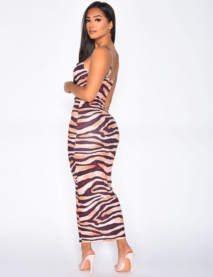 Long Tiger Bodycon Dress