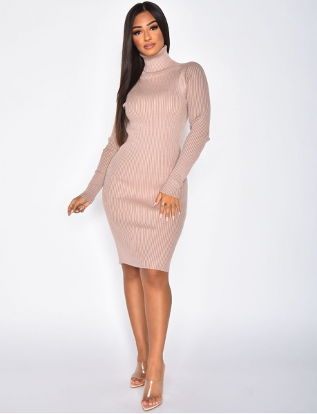 Long Sleeved Ribbed Jumper Dress