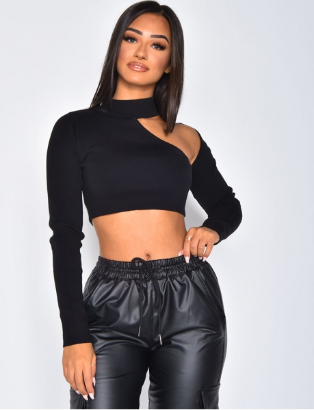 Ribbed Openwork Crop Top