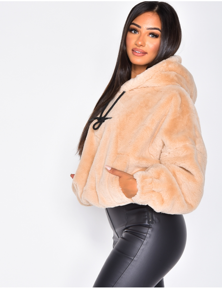 Faux Fur Jumper with Hood