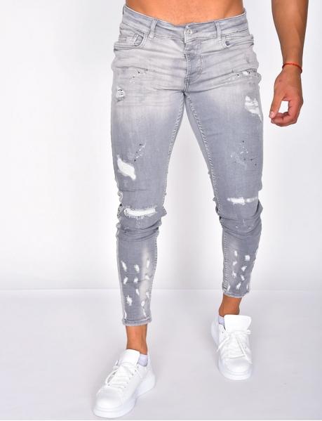 Jeans tâcheté destroy