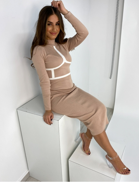 Ribbed Dress with Boning