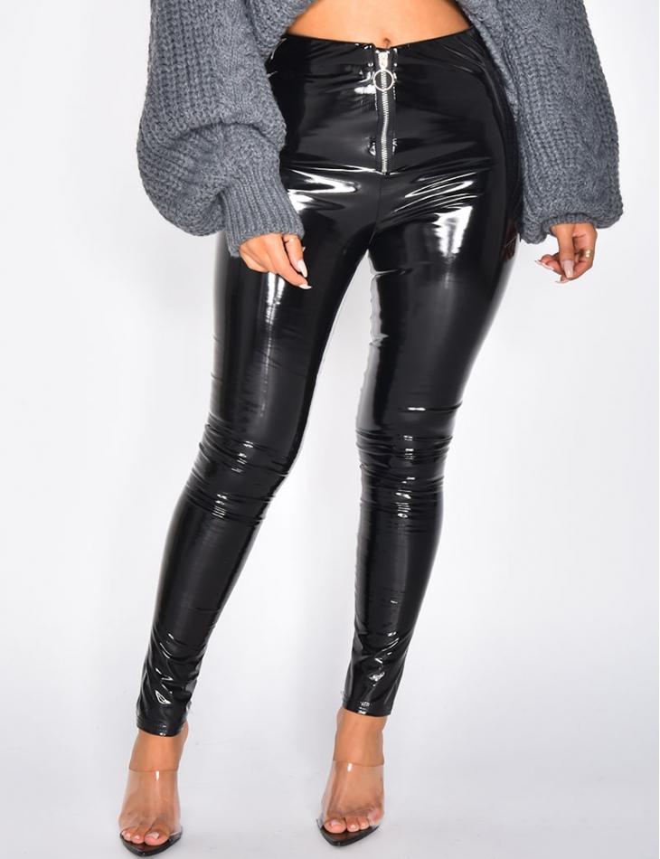 Trousers with Vinyl Zip