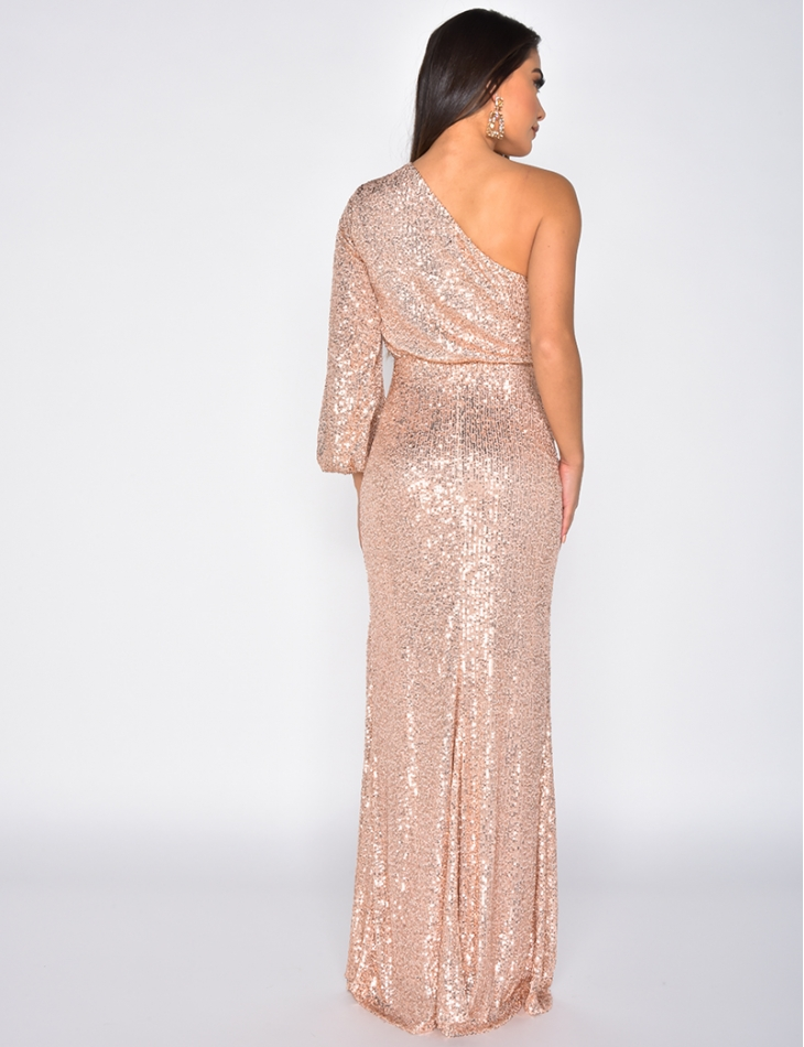 Long Off-the-Shoulder Sequin Dress