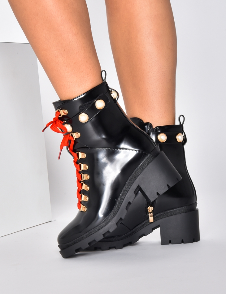 Patent Combat Boots with Red Laces