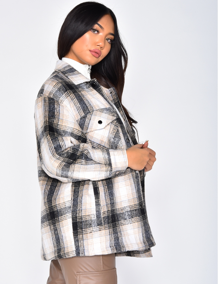 Soft Checked Jacket with Snap Fasteners