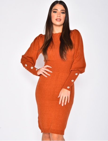 Fitted Jumper Dress with Puff Shoulders and Buttons