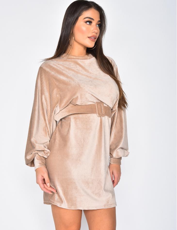 Velvet Dress with Belt