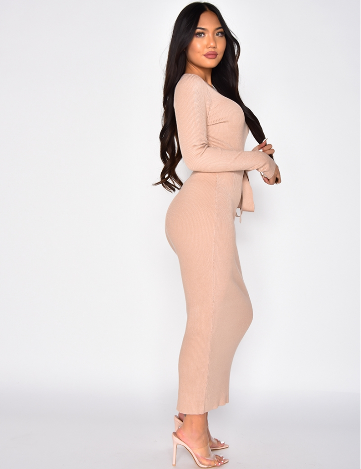 Long Ribbed Dress with Tie Up