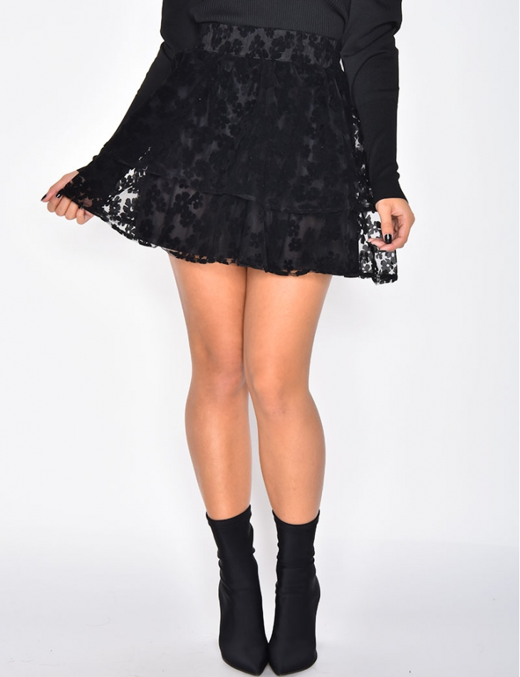 Tulle Skirt with Flower Print