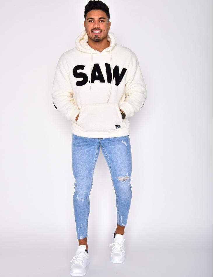 """SAW"" Faux Fur Sweatshirt with Hood"