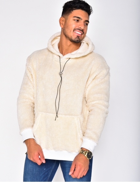 Faux Fur Sweatshirt with Hood