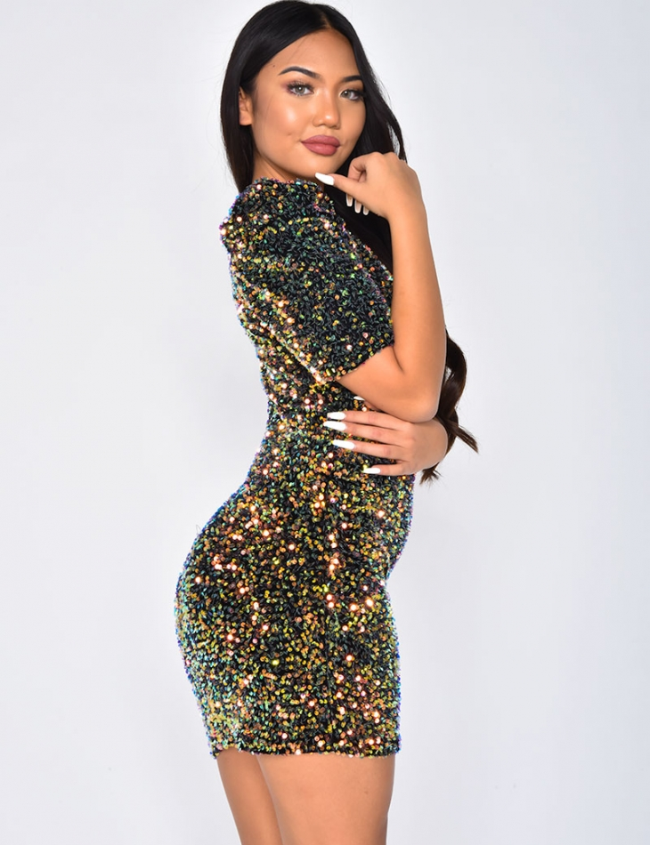 Short Sleeved Dress with Shoulder Pads and Sequins