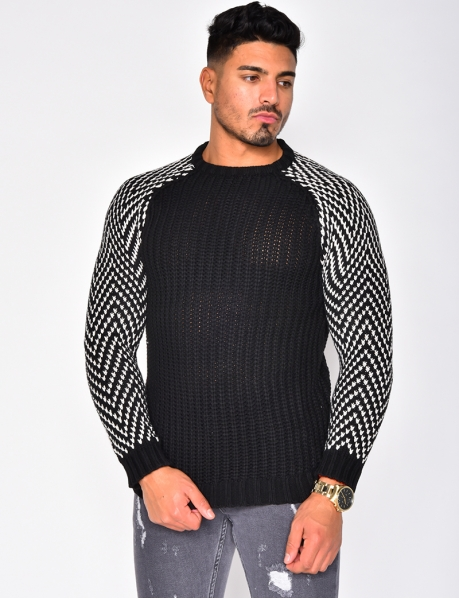 Pull col rond en laine manches bicolore