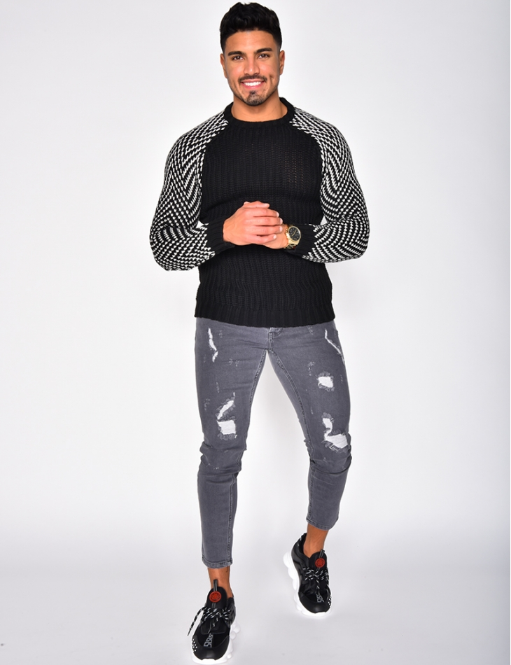 Round Neck Wool Jumper with Two-Coloured Sleeves