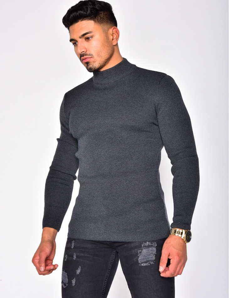 High Neck Ribbed Jumper
