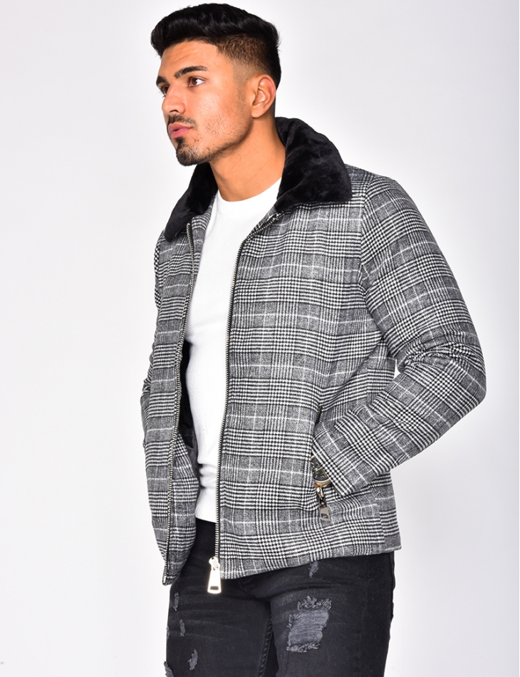 Fur Checked Jacket