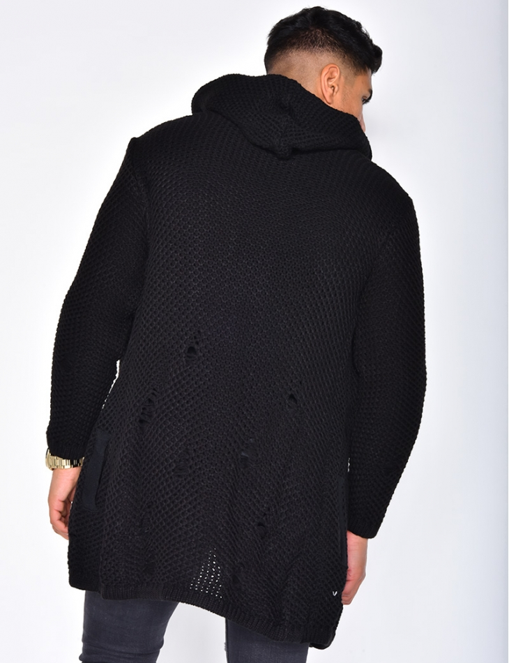 Ripped Wool Jacket with Hood