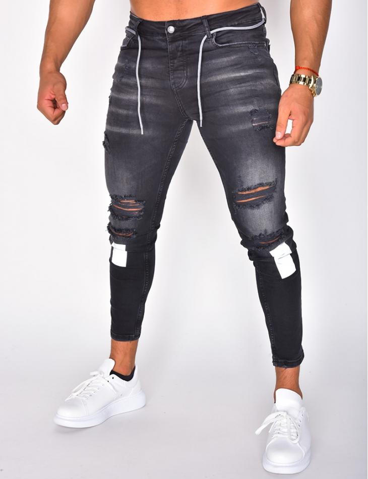 Jeans destroy à empiècements réfléchissant