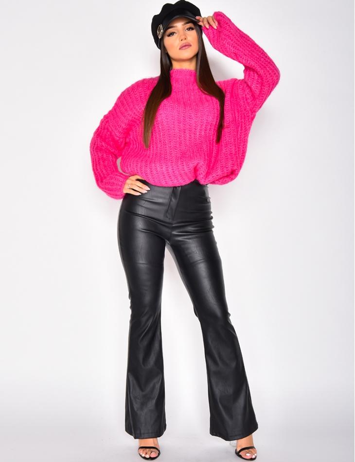 Pantalon taille haute en cuir PU patte d'eph
