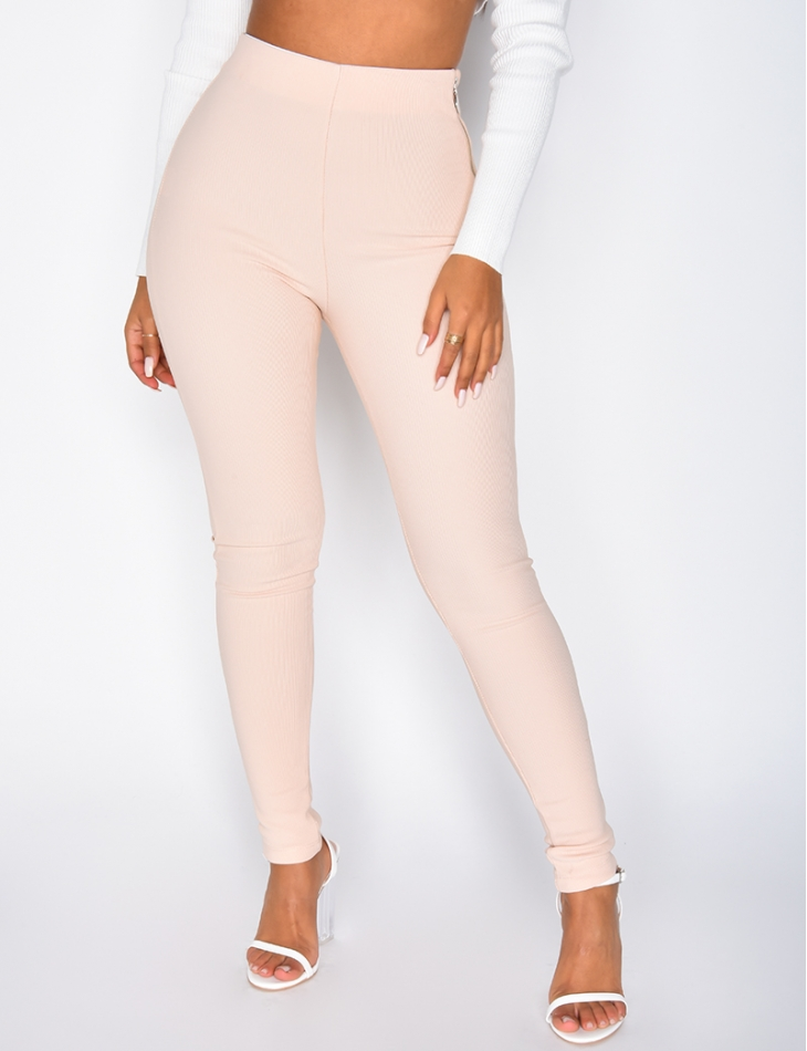 High Waisted Ribbed Leggings with Zips