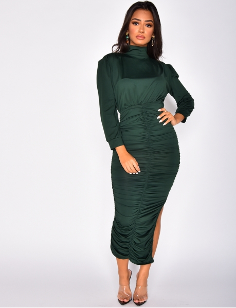 High Neck Drape Dress with Long Sleeves