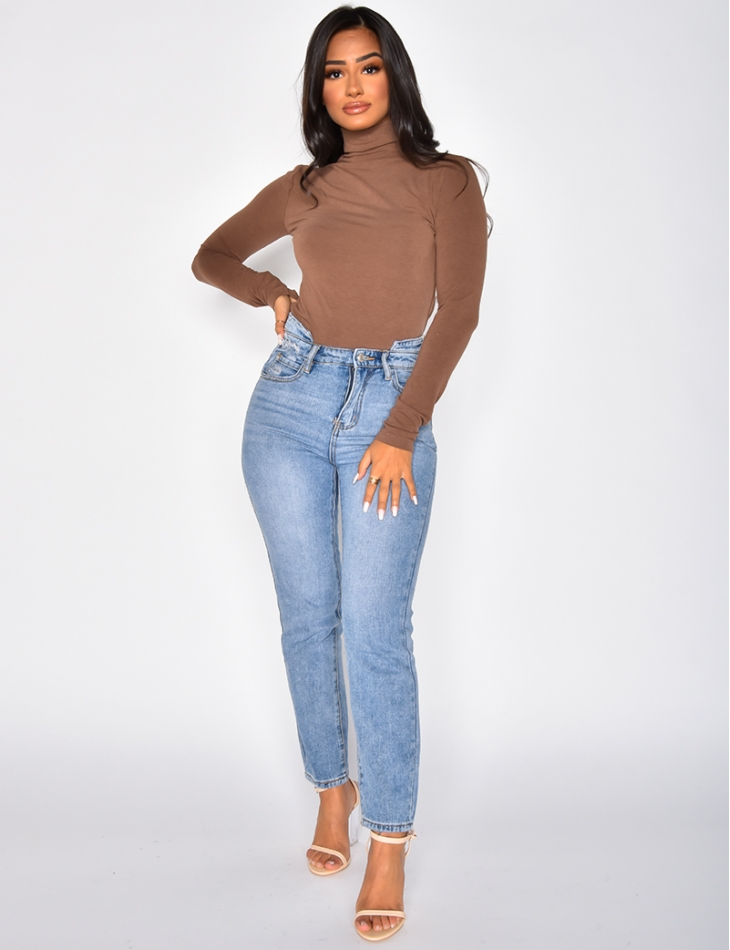 Fine Polo Neck Jumper with High Neck
