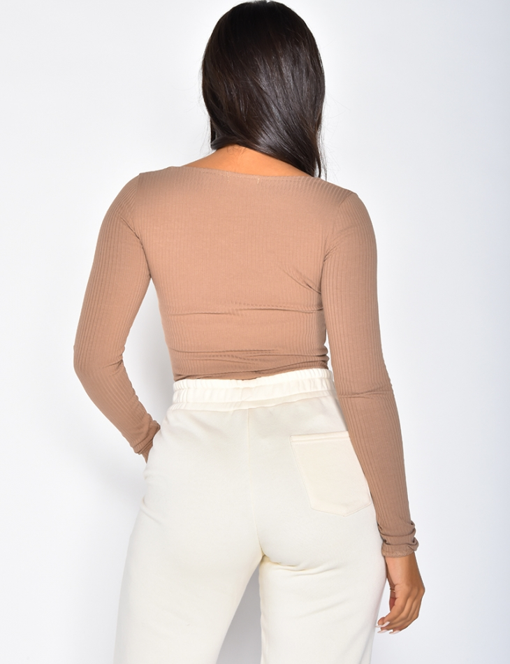 Long-Sleeved Ribbed Bodysuit