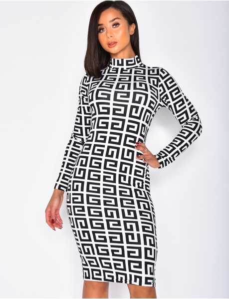 Long Sleeved Bodycon Dress with Geometric Pattern