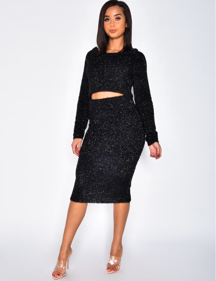 Glittery Crop Top and Skirt Co-ord
