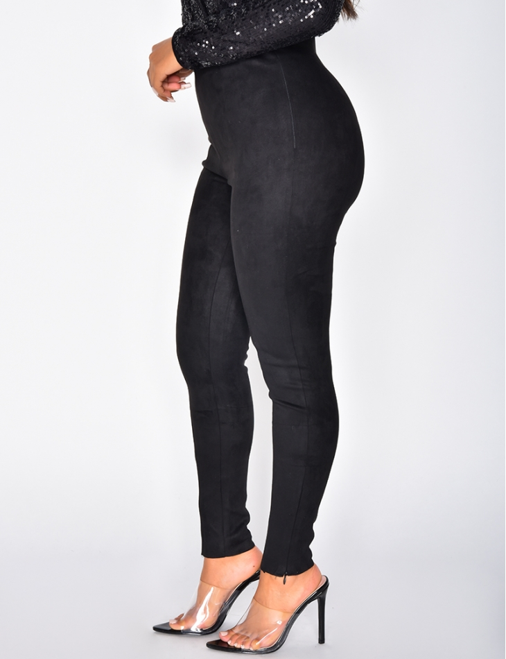 High Waisted Suedette Leggings with Zip