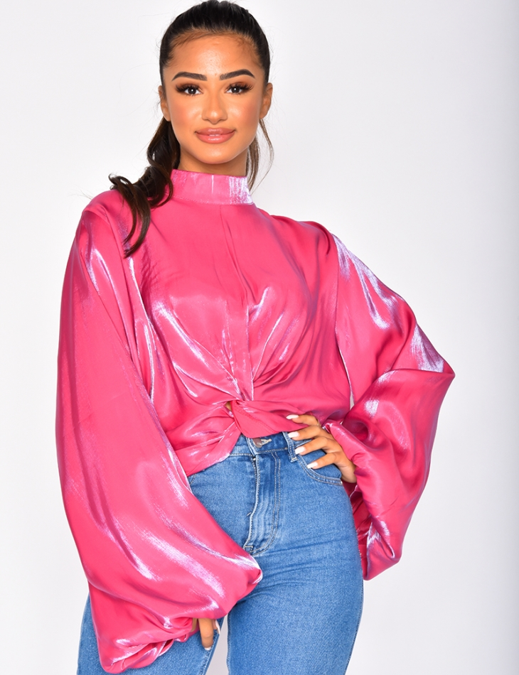 Iridescent Satiny Top with Wide Sleeves